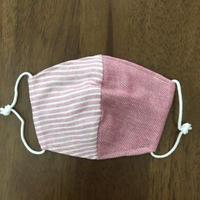 デニム風 ボーダー pink baby mask