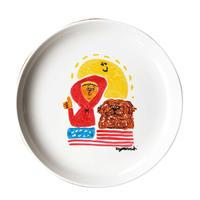 手描き皿/犬と僕と太陽