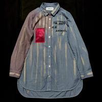 アナーキーシャツ(ロング) DIP-DYE レディースM ブルー