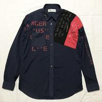Dangerouslyドットシャツ メンズL  ネイビー049