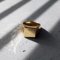 [INITIAL] Silver925+Gold P / シグネットリング・印台リング・スクエア / シルバー ゴールドコーティング