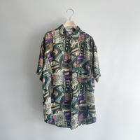 Pattern green silk shirt