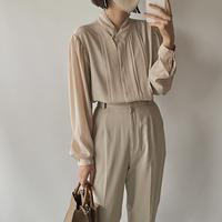 Pleats beige blouse