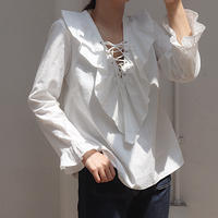 frill laceup blouse