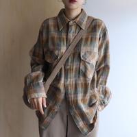 Wool check shirt (green)
