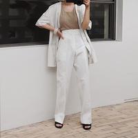 White tuck pants