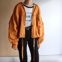 Orange linen shirt jacket