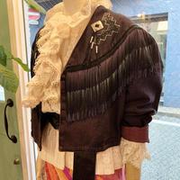 Fringe dyed denim jacket