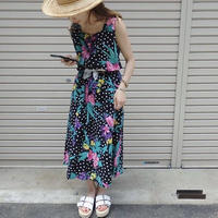 Vintage Dot × Flower pattern one-piece