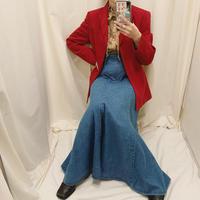 Denim flare long skirt