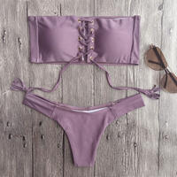 lace up bandeau bikini/レース アップ バンドゥ ビキニ