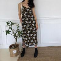 flower print strap dress/フラワー  プリント ストラップ ワンピース ドレス