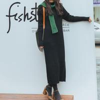 black knit  dress/ブラック ニット ワンピース ドレス
