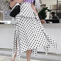 dot pattern white  flare skirt/ドット柄 ホワイト フレアスカート