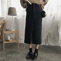 black denim skirt/ブラック デニム スカート