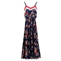 color scheme flower strap dress/配色 フラワー柄 ストラップドレス ワンピース