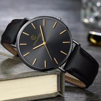 超薄型 腕時計 メンズ クォーツ レザーバンド   カジュアル  シンプル