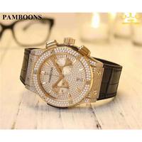 PAMBOONS メンズ腕時計 ビッグバンタイプ 高級CZラインストーンベゼル クォーツ クロノグラフ ラグジュアリーウォッチ