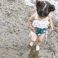 リーフ柄水着★女の子★オールインワン