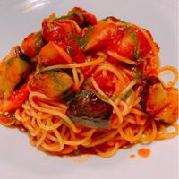 サルシッチャと茄子のトマトソーススパゲティ(麺 ゆで塩付)