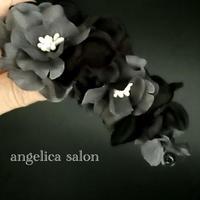 マットなブラック、グレーグラデーションのアジサイバナナクリップ/セミロング ロングのヘアアクセサリー/黒い髪飾り/アーティフィシャルフラワー アートフラワー