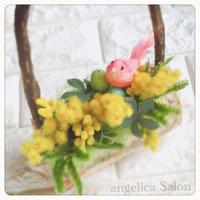 ミモザのアレンジ イースターに 春の喜びいっぱい♡フラワーアレンジメント ディスプレイ 贈り物  のコピー