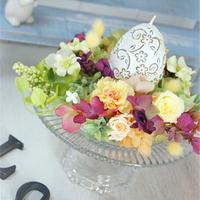 イースター、プリザーブドフラワーアレンジ/パステルオレンジ,イエロー/エレガントなたまごお花キャンドル/出産祝い、母の日、誕生日、お祝い、開店祝い