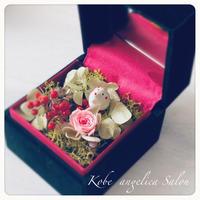 玉手箱アレンジ/小さなお正月飾り/プリザーブドフラワー・干支・ネズミ・ピンクのバラ