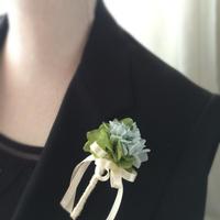 ブルーあじさいのコサージュ/卒業式・入学式・結婚式/紫陽花・グリーン&ブルー/スタイリッシュなコサージュ