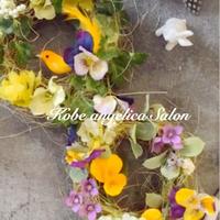 春のワクワク遊び心♡ビオラのリース・アーティフィシャルフラワー2個セット・完成品