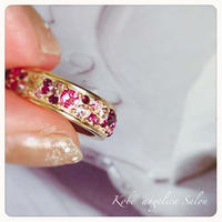 一つ限り!超お買い得!ピンクパープル、色とりどりの大人可愛い指輪/スワロフスキーエタニティーリング