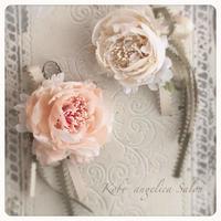 アンティークホワイトローズ、コサージュ、バラのブローチ/結婚式・婚約式・卒業・卒園・入学式シャビーシック