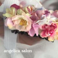 大人可愛いお花のヘアアクセサリー クリップタイプ シュガーアートのようなパステルカラー まとめ髪、髪飾り アーティフィシャルフラワー
