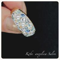 スワロフスキークリスタル&パールのエレガントリング グルーデコ ハンドメイド、ブルー・ホワイト 指輪