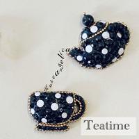 〜Teatime〜スワロフスキーブローチ・ティーポット&カップ お誕生日プレゼントに、自分へのご褒美に
