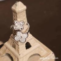 四つ花びらのフラワーデザインリング フォークリング 手元から綺麗な気分をアップ ジュエリーのようなスワロフスキーグルーデコリング/フリーサイズリング   プレゼント