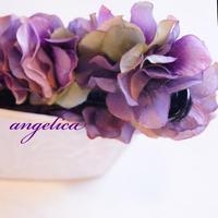 大人可愛い 紫陽花のヘアアクセサリー バナナクリップ パープル髪飾り アーティフィシャルフラワー アートフラワー