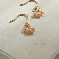 14kgf*Petite Earrings [Three Fresh Water Pearls(P/A)]*