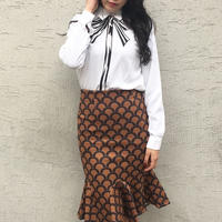 Ribbon Print Blouse IVORY