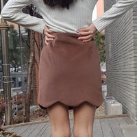modern cut wool skirt / brown