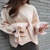 ribbon knit / pink beige