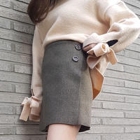 wool wrap button skirt / olive