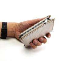 アマンダオイルレザーコンパクトL字型財布 シルバー×ナチュラル AK20TA-B0005
