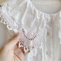 euro lace white blouse