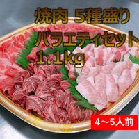 【4~5人前】焼肉 5種盛りバラエティセット 1.1㎏