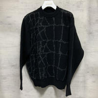 CROCODILE JACQUARD KNIT PULLOVER / BLACK