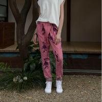 コットン・カディ/手紬手織り綿ハンドブロック ローズプリント フロントラップパンツ #2016017