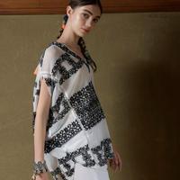 綿ネット刺繍・Kimono襟ブラウス #2014011