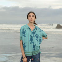 コットン・カディ/手紬手織り綿ハンドブロック ローズプリント シャツ #2014014