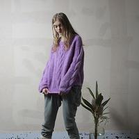 もこもこモヘア手編みケーブルニット#1747011